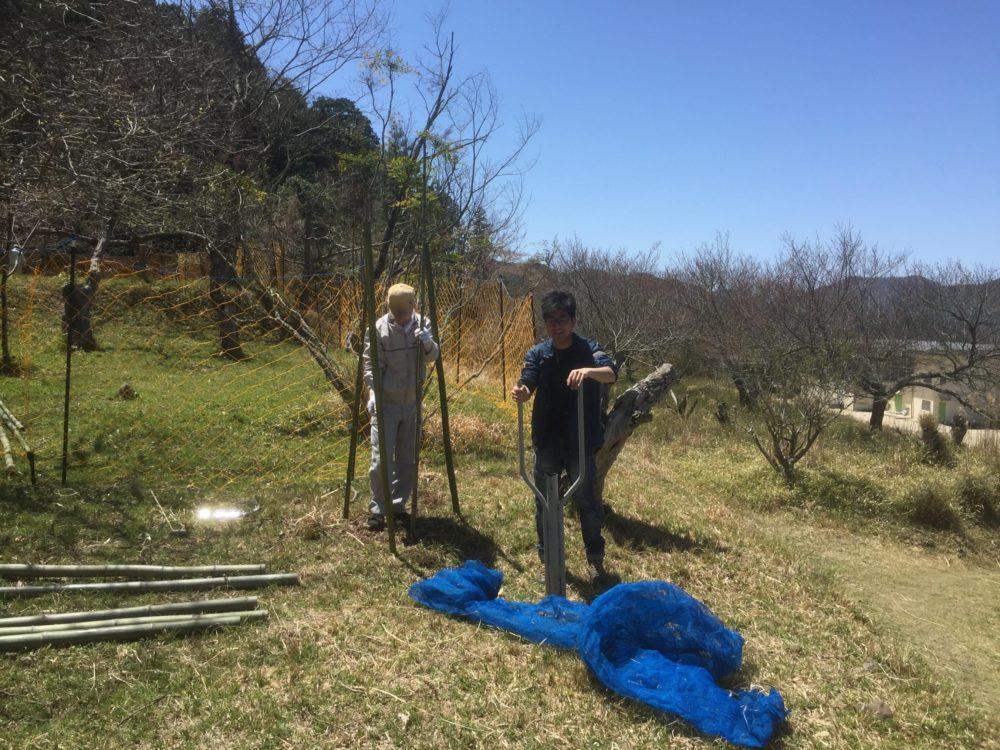 穴掘り作業と防護ネット