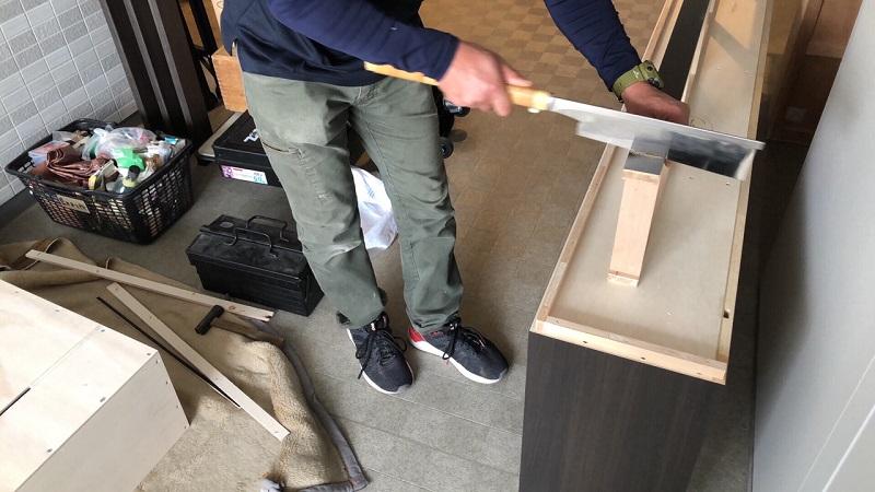 壁面収納 オーダー家具 現場加工