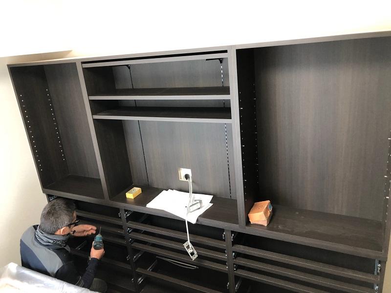 壁面収納 オーダー家具 現場工事